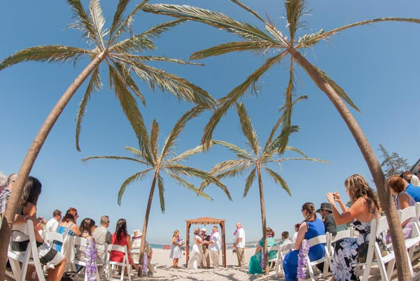 Bride and groom holding hands during sunny outdoor wedding ceremony amid palm trees at Monterey Beach Party.