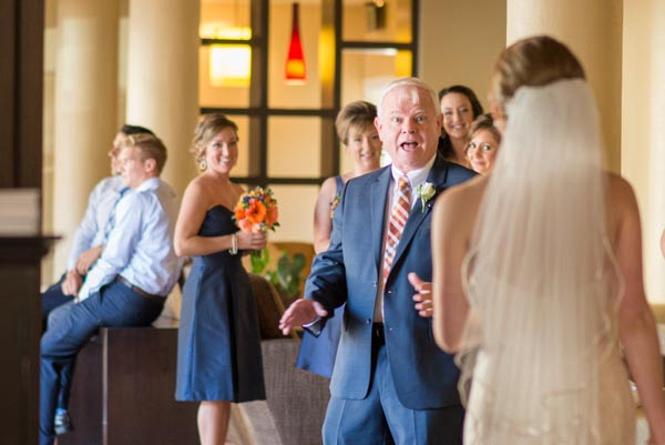 surprised father's first look at bride before wedding ceremony at Chaminade Resort & Spa.